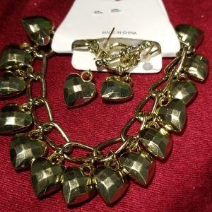 Heart bracelet with matching earrings